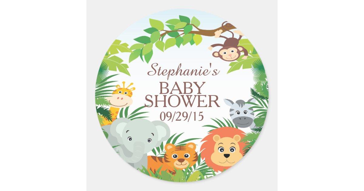 Cute Safari Jungle Baby Shower Favor Sticker   Zazzle.com