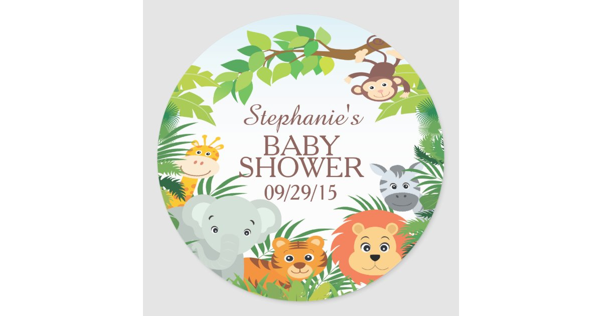 cute safari jungle baby shower favor sticker zazzlecom