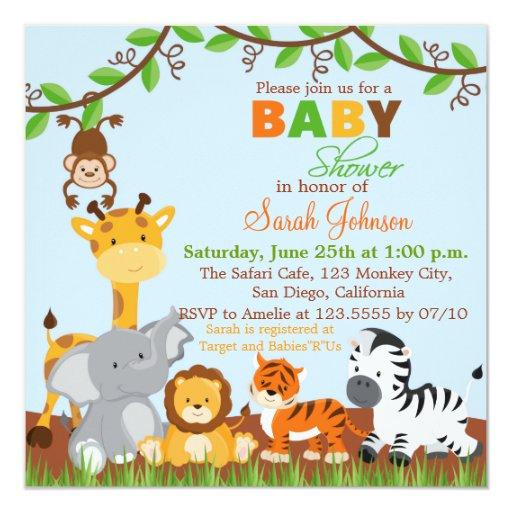 cute safari jungle baby shower invitation zazzle