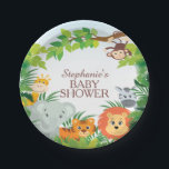 "Cute Safari Jungle Baby Shower Plate<br><div class=""desc"">Safari Jungle Baby Shower Plate Cute jungle safari baby shower paper plate featuring a monkey hanging from a tree,  giraffe,  elephant,  tiger,  lion &amp; zebra framed with green jungle leaves. Matching items available in our shop.</div>"