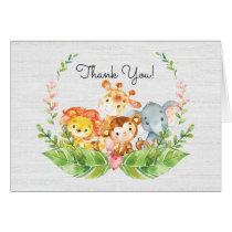 Cute Safari Jungle Baby Shower Thank You Note