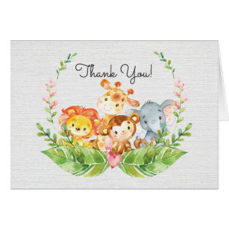 Cute Safari Jungle Baby Shower Thank You Note