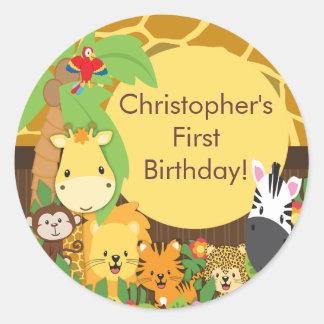 Cute Safari Jungle Birthday Party Classic Round Sticker