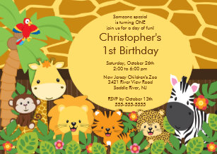 Jungle birthday invitations announcements zazzle cute safari jungle birthday party invitations filmwisefo