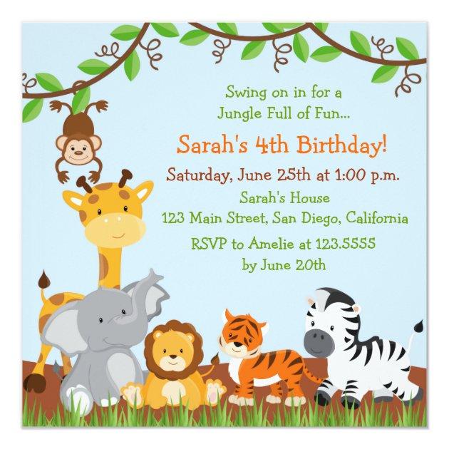 Cute Safari Jungle Birthday Party Invitations Zazzle