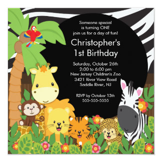 Zoo birthday party invitations announcements zazzle cute safari jungle birthday party invitations stopboris Choice Image