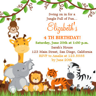 Jungle birthday invitations announcements zazzle cute safari jungle birthday party invitations filmwisefo Image collections