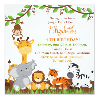 Jungle Birthday Invitations Announcements Zazzle - Birthday party invitations jungle