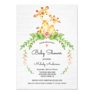 Cute Safari Jungle Giraffe Baby Shower Invitation
