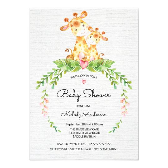 e7c260e51ec5 Cute Safari Jungle Giraffe Baby Shower Invitation