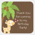 Cute Safari Jungle Giraffe Birthday Party Square Stickers