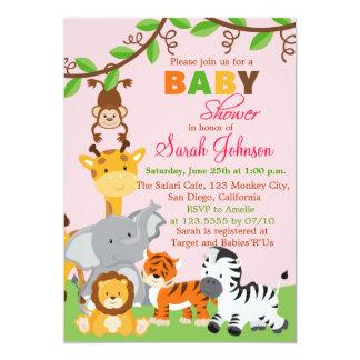Cute Safari Jungle Girl Baby Shower Invitation