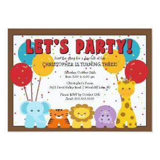 Cute Safari Jungle Kids Birthday Card
