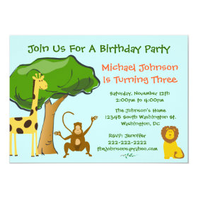 Cute Safari Jungle Zoo Animals Kids Birthday Party 5x7 Paper Invitation Card