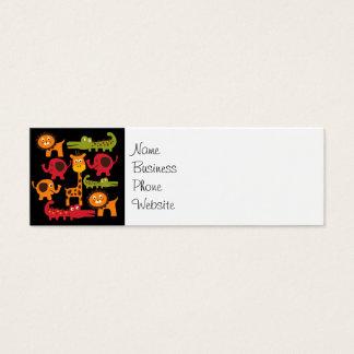 Cute Safari Jungle Zoo Animals Print Gifts Mini Business Card