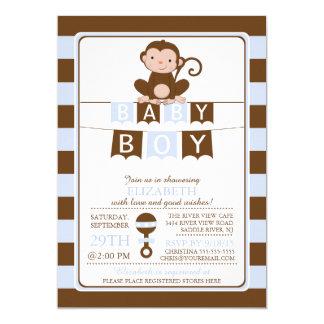 Cute Safari Monkey Boys Baby Shower Invitation