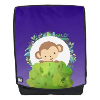Cute Safari Monkey with Tropical Leaves Backpack