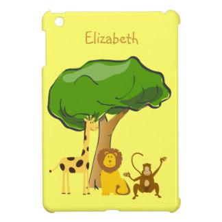 Cute Safari Zoo Animals Lion Giraffe Monkey iPad Mini Cover