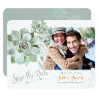 Cute Sage Succulents Wedding Photo Save the Date Card