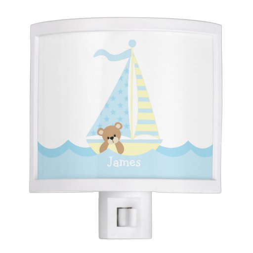 Cute Sailboat Bear Baby Nursery Night Light