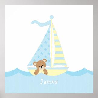 Cute Sailboat Bear Nursery Wall Art