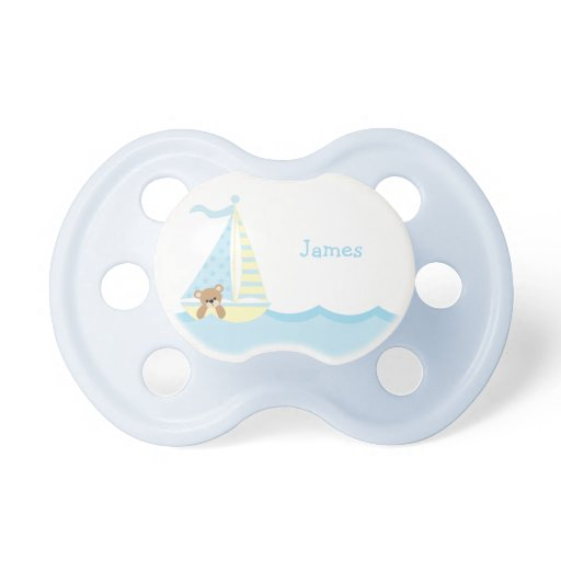 Cute Sailboat Bear Personalized Pacifier