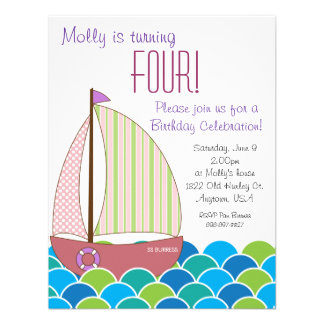 Cute Sailboat Birthday Invitation - Girl