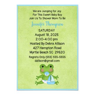 Cute Sailboat Frog Baby Boy Shower Invitation