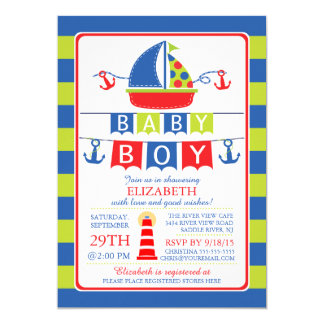 Cute Sailboat Nautical Boy Baby Shower Invitation