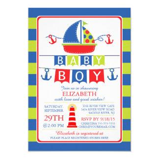 Cute Sailboat Nautical Boy Baby Shower Invitation