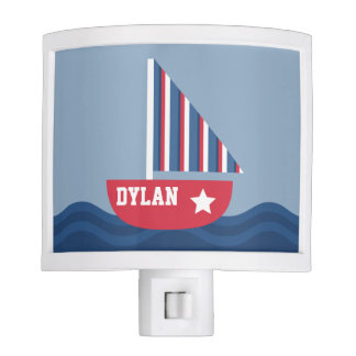 Cute Sailboat Nautical For Kids Room Night Light