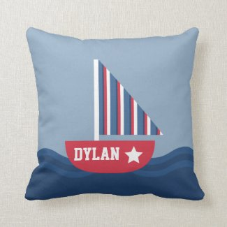 Cute Sailboat Nautical For Kids Room Pillow