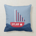 Cute Sailboat Nautical For Kids Room Throw Pillows