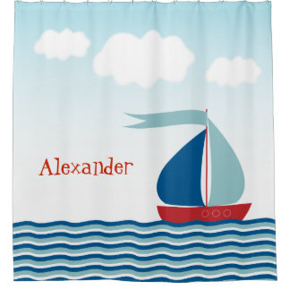 Cute Sailboat on Water, Personalized Nautical Shower Curtain
