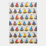 Cute Sailboat Pattern 2 Kitchen Towel