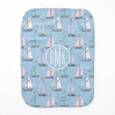 Beach Themed Cute Sailboat Pattern   Monogram Burp Cloth