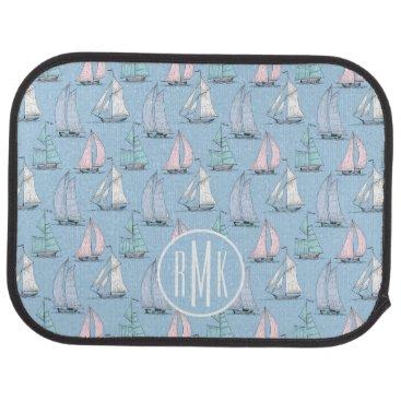 Beach Themed Cute Sailboat Pattern | Monogram Car Floor Mat
