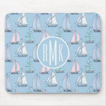 Cute Sailboat Pattern | Monogram Mouse Pad