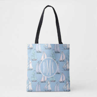 Cute Sailboat Pattern | Monogram Tote Bag