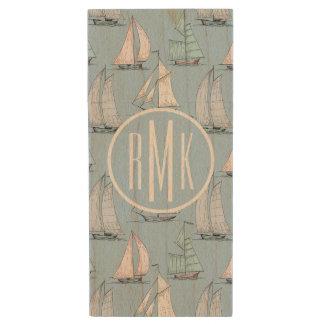 Cute Sailboat Pattern | Monogram Wood Flash Drive