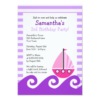 Cute Sailboat Pink & Purple Birthday Invite 5x7