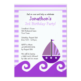 Cute Sailboat Purple Birthday Invite 5x7