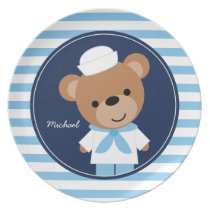 Cute Sailor Bear Kids Dinner Plate