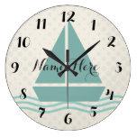 Cute Sailor Boat Add Name Wall  Clock
