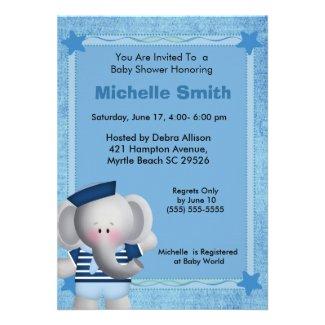 Cute Sailor Elephant Baby Shower Invitation