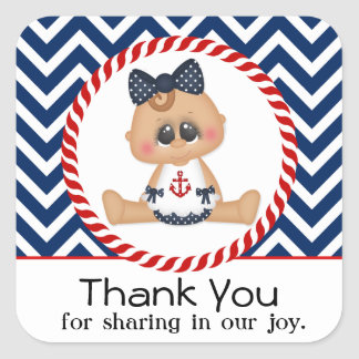 Cute Sailor Girl Nautical Baby Shower Square Sticker