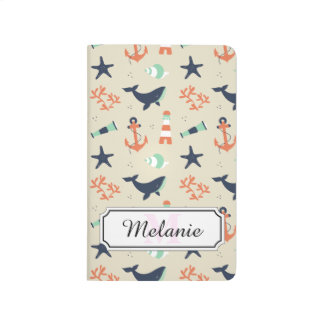 Cute sailor pattern with whale elements journal