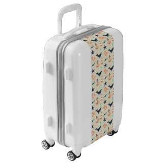 Cute sailor pattern with whale elements luggage