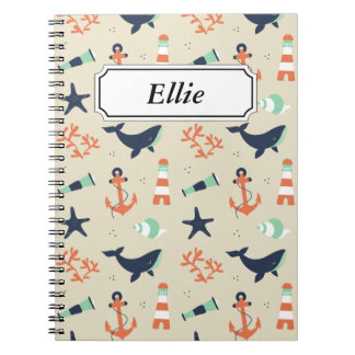 Cute sailor pattern with whale elements notebook