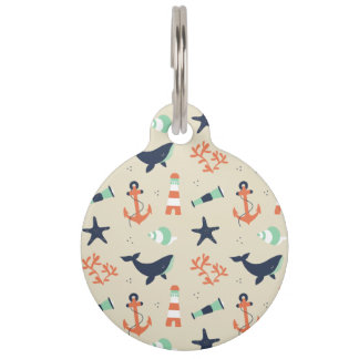 Cute sailor pattern with whale elements pet tag